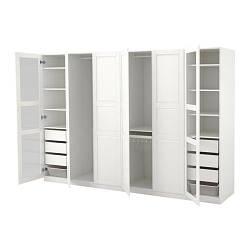 ИКЕА (IKEA) ПАКС, 992.216.44, Гардероб, белый тисседал, Тисседал стекло, 300x60x201 см