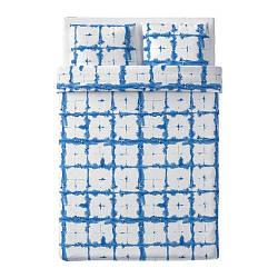 ИКЕА (IKEA) TÄNKVÄRD, 304.347.61, Комплект постельного белья, синяя сетка, 200x200/50x60 см