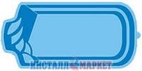 Бассейн Голубая лагуна прямоугольный, со ступенями 5.0 х 3.0 х 1.70 м
