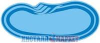 Бассейн Голубая лагуна овальный большой со ступенями 8.00 х 3.50 м, глубина 1.20-1.60 м