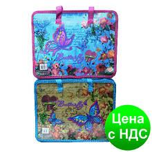 Папка-портфель пластиковая с тканевыми ручками №7419 Бабочки