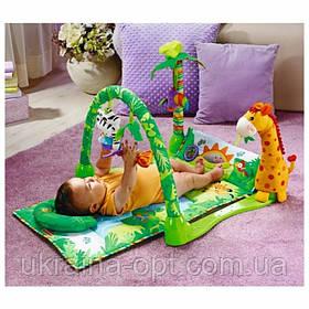 """Детский развивающий коврик """"Тропический лес"""". Музыкальные эффекты. Мягкие игрушки. BabyGift  3059"""