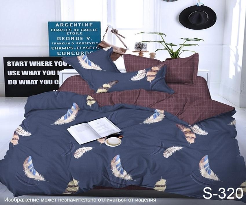 Комплект постельного белья из сатина с компаньоном Перья S320,  разные размеры