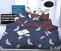 Комплект постельного белья из сатина с компаньоном Перья S320,  разные размеры, фото 1