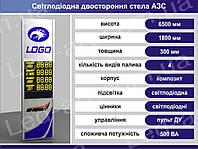Световая рекламная стела для АЗС со светодиодными табло 6500 х 1800 мм