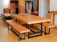 Комплект Обеденный стол + скамейки в стиле LOFT (Table - 332)