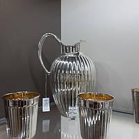 Серебряный кувшин с двумя стаканами