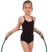 Купальник гимнастический на бретелях из хлопка Zelart DR-111-CB (р-р RUS-32-42, рост 122-164см, черный)