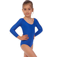 Купальник гимнастический с длинным рукавом из бифлекса Zelart DR-57-B (р-р RUS-32-42, рост 122-164см, синий)