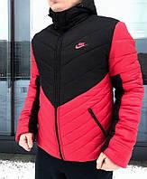 Мужская зимняя куртка Nike красного и черного цвета (Реплика)