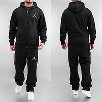 Утепленный спортивный костюм, костюм на флисе джордан, черный, кенгуру, ф3316
