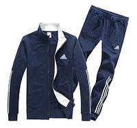 Спортивный костюм Адидас, мужской костюм Adidas, темно-синий костюм, с лампасами, трикотажный