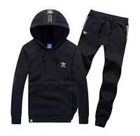 Спортивный костюм Адидас, мужской костюм Adidas, черный костюм, с капюшоном, трикотажный