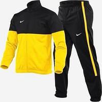 Утепленный спортивный костюм, костюм на флисе Nike, желтый с черными вставками, ф3046