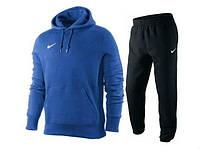Теплый спортивный костюм, костюм на флисе Nike кенгуру, синий верх, черный низ, ф3130