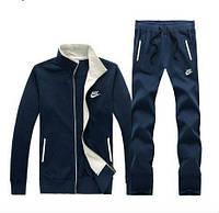 Утепленный спортивный костюм, костюм на флисе найк, синий с змейкой, ф3135