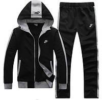 Теплый спортивный костюм, костюм на флисе Nike черный с капюшоном и змейкой, ф3198