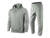 Теплый спортивный костюм, костюм на флисе найк, серый цвет, толстовка и штаны на манжете, ф3344