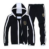 Утепленный спортивный костюм, костюм на флисе Armani, черный костюм, с капюшоном, с белыми вставками, ф3019