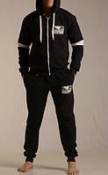 Утепленный спортивный костюм, костюм на флисе Venum, черный, кенгуру, хлопковый, ф3297