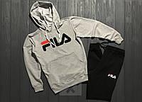 Теплый спортивный костюм, костюм на флисе FILA серого и черного цвета ()