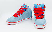 Кроссовки высокие Кожа CIRCA 3134-GR (р-р 37-41) (верх-кожа,подош-TPU,серый-синий-красный)