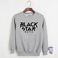 Теплый свитшот, кофта на флисе Black Star Mafia серый ()