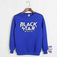 Теплый свитшот, кофта на флисе Black Star Mafia голубой ()