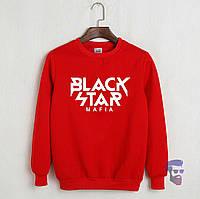 Теплый свитшот, кофта на флисе Black Star Mafia красный ()