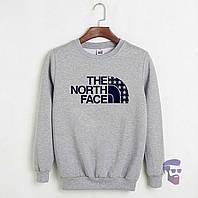 Спортивная кофта Норд Фейс, Мужская кофта The North Face, светло серая, меланж, трикотажная, реглан, свитшот