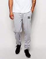 Спортивные штаны Адидас, штаны мужские Adidas светло серые, меланж, трикотажные, с манжетом