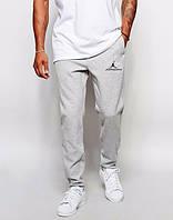 Спортивные штаны Джордан, штаны мужские Jordan, джордан светло светло серые, меланж, трикотажные, с манжетом
