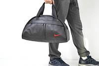 Сумка черная с красным логотипом, кожзаменитель Nike, Найк, ф1589