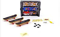 Фингерборд-мини скейт 9904 (3фингерборда,12зап.колес,3деки,ключ-отвер,бокс,наклейки,пластик,металл)
