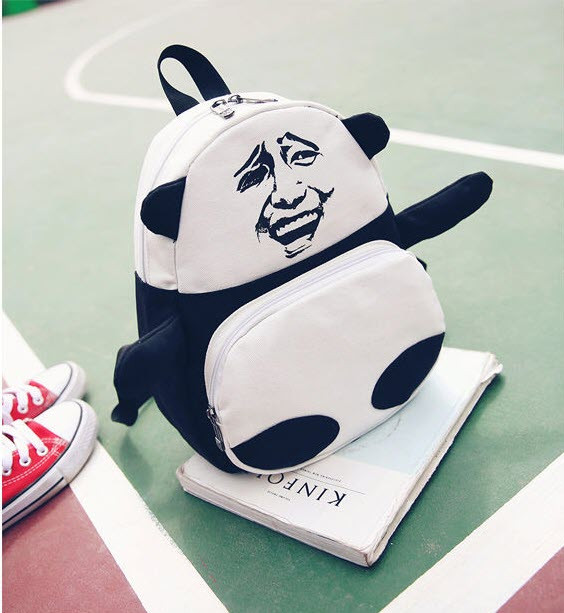 Оригинальный тканевый рюкзак Панда с мемом гримасой