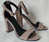 Viva лето! Женские стильные замшевые босоножки каблук 10 см замш латтэ, фото 1