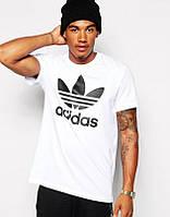 Мужская футболка Adidas, мужская футболка Адидас, спортивная, брендовая, хлопок, белая(Реплика)