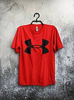 Мужская футболка Under Armour, спортивная футболка Андер Армор, хлопок, красная