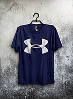 Мужская футболка Ander Armout, спортивная футболка Андер Армор, хлопок, синяя