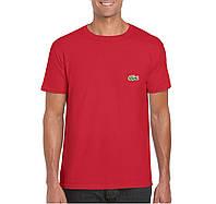 Мужская футболка Lacoste, мужская футболка Лакоста, спортивная, брендовая, хлопок, красная,