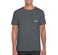 Мужская футболка Lacoste, мужская футболка Лакоста, спортивная, брендовая, хлопок, серая,