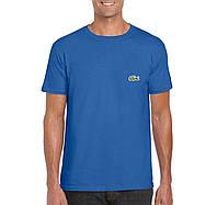 Мужская футболка Lacoste, мужская футболка Лакоста, спортивная, брендовая, хлопок, синяя,
