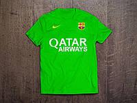 Клубная футболка Барселона, Barcelona, салатовая, ф3562