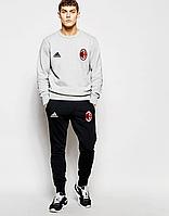 Футбольный костюм, тренировочный костюм Милан, Milan, Adidas, Адидас, серый свитшот, черные штаны, ф4812