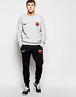 Футбольный костюм, тренировочный костюм Рома, Найк, Roma, Nike, серый свитшот, черные штаны