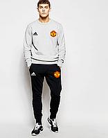 Футбольный костюм, тренировочный костюм Манчестер Юнайтед, МЮ, Адидас, MU, Adidas, серый свитшот, черные штаны