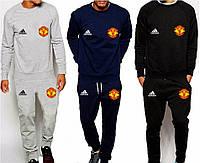 Футбольный костюм, тренировочный костюм Манчестер Юнайтед, МЮ, MU, Adidas, Адидас, серый, синий, черный
