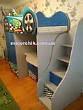 Кровать машина чердак машинка Ауди со столом, комодом и шкафом, фото 8