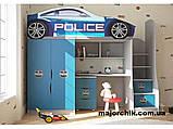 Кровать машина чердак машинка Ауди со столом, комодом и шкафом, фото 7