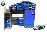 Кровать машина чердак машинка Ауди со столом, комодом и шкафом, фото 2